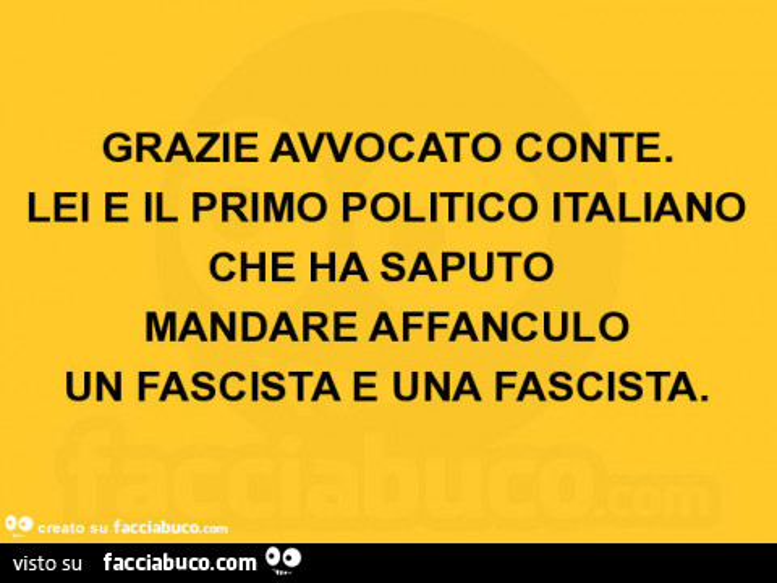 Grazie avvocato conte. Lei è il primo politico italiano che ha saputo mandare affanculo un fascista e una fascista